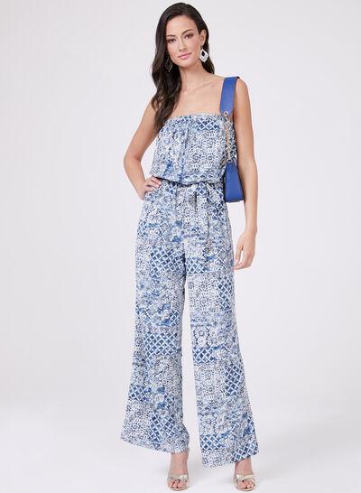 Aztek Print Blouson Jumpsuit