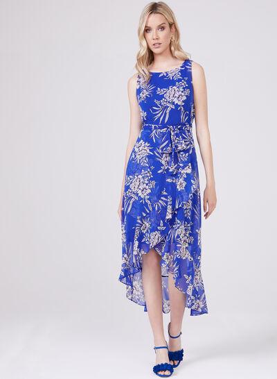 Sandra Darren – Asymmetric Floral Print Chiffon Dress
