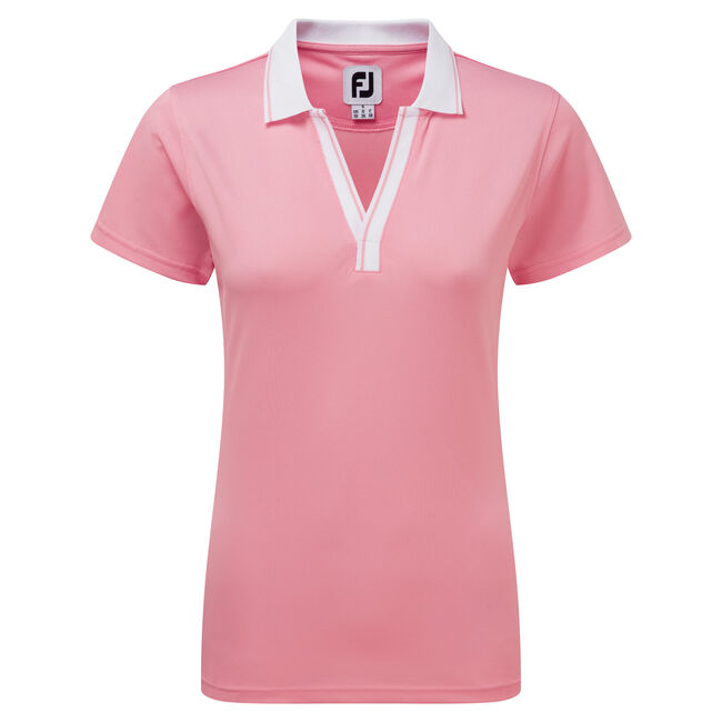 Stretch Pique Open V-Neck Women