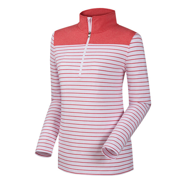 Half-Zip Stripe + Solid Yoke Women