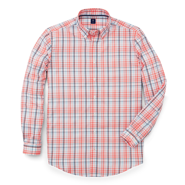 Stretch Twill Woven Plaid Shirt