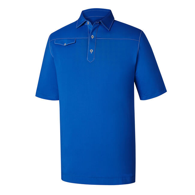 Athletic Fit Solid Lisle Contrast Stitch Self Collar-Previous Season Style