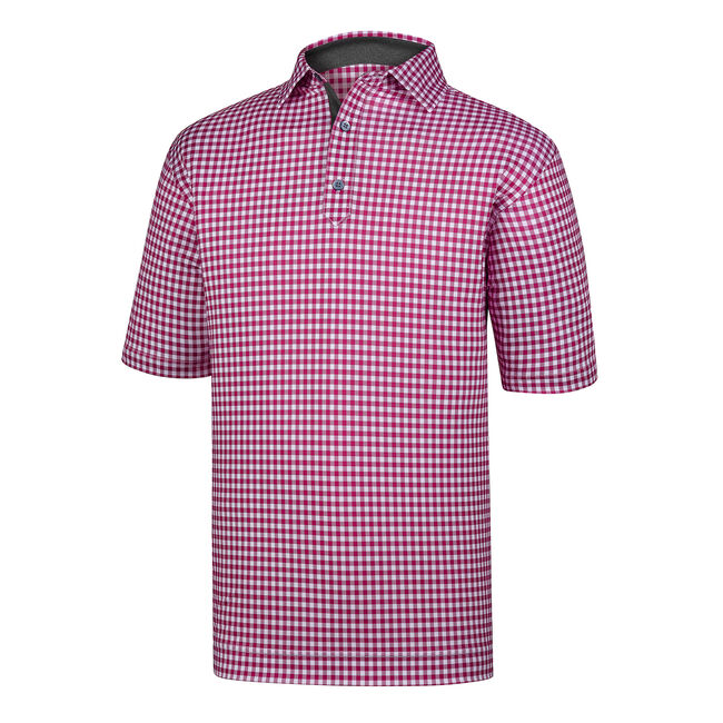 Stretch Lisle Gingham Print Self Collar