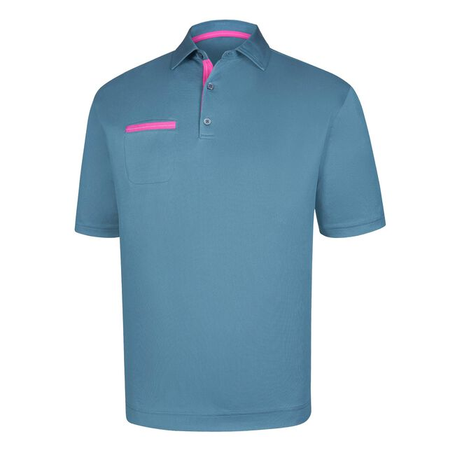 Stretch Pique Solid Chest Pocket Self Collar