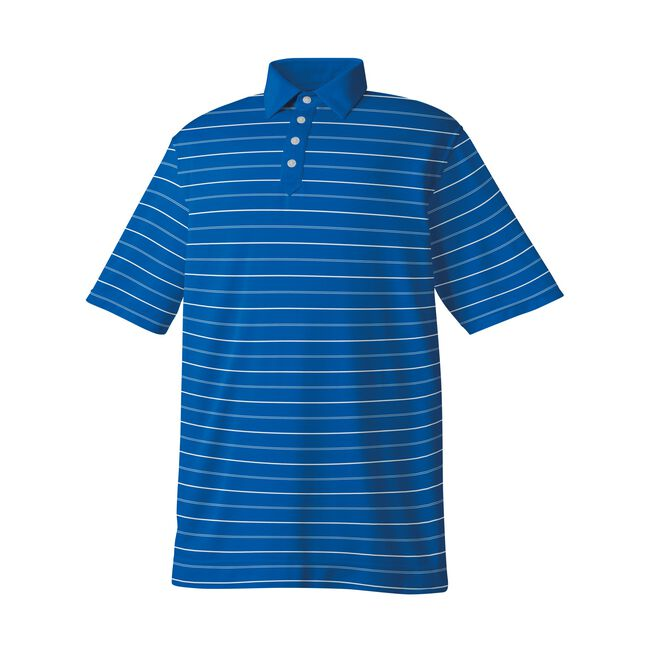 Athletic Fit Lisle Stripe Solid Placket Self Collar