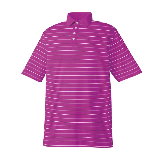 Athletic Fit Lisle Stripe Solid Placket Self Collar-Previous Season Style
