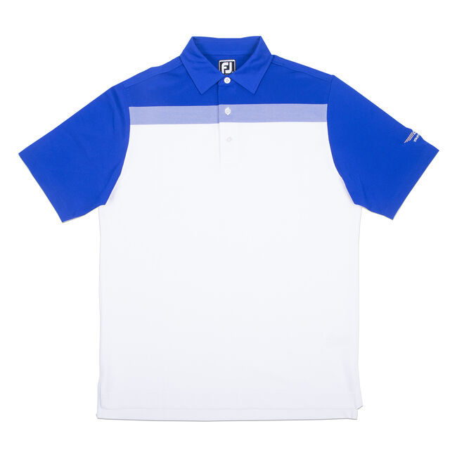 FJ Birdseye Colorblock Pique - Athletic Fit - White + Royal Blue