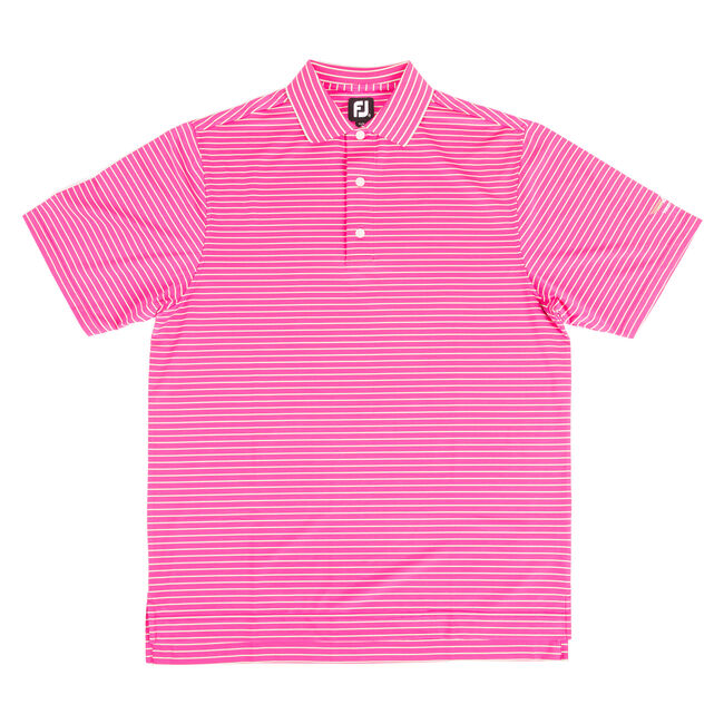 FJ Stripe Lisle with Double Knit Collar - Berry + Mint