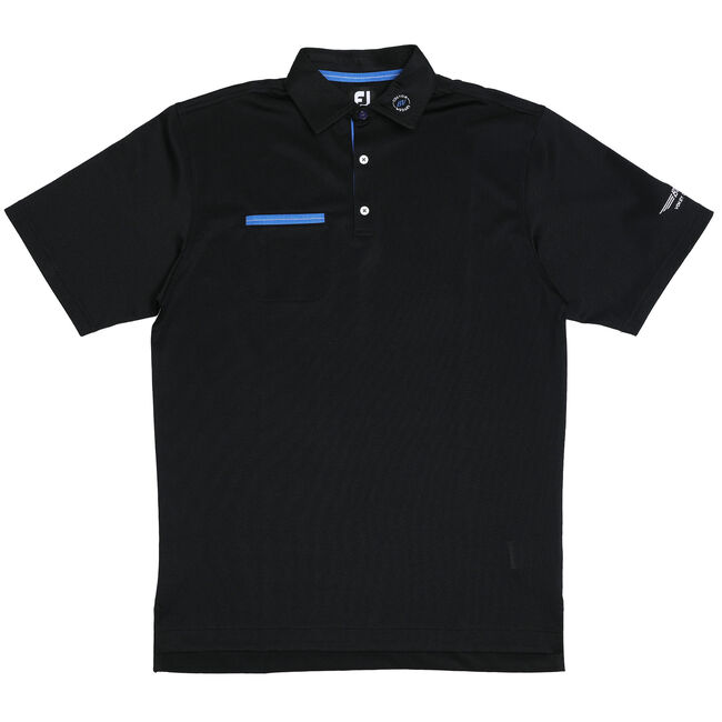 FJ Stretch Pique Solid w/ Chest Pocket - Black + Marine