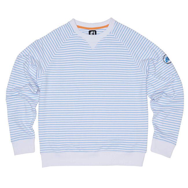 FJ French Terry Crew Neck Stripe Pullover - White/Marine Blue