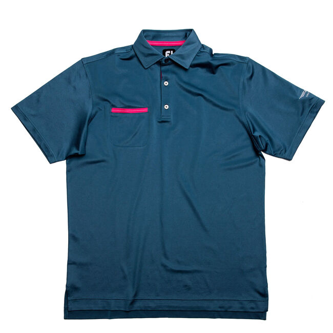 FJ Stretch Pique Solid w/ Chest Pocket - Slate + Island Pink