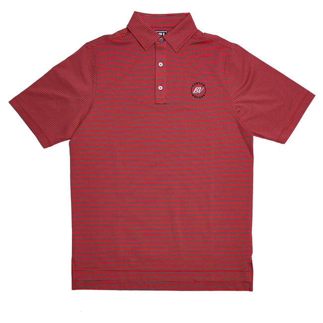 FJ ProDry Lisle Mini Stripe - Athletic Fit - Heather Charcoal/Red