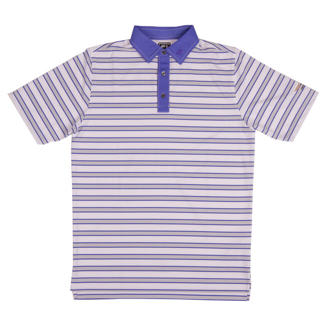 FJ Stretch Lisle Multi-Stripe w/ Self Collar - Athletic Fit - White + Grey/Purple