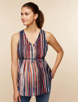 Pleated Maternity Blouse, Navy Multi Stripe