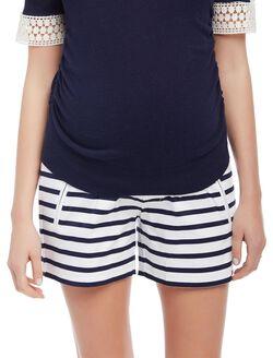 Secret Fit Belly Sateen Maternity Shorts- Stripe, Navy/White Stripe