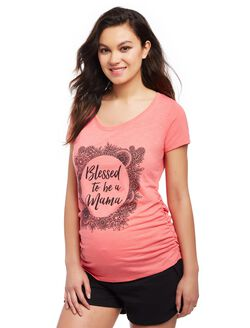 Blessed to be a Mama Maternity Tee, Coral