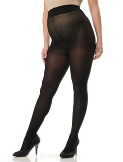 Plus Size Opaque Maternity Tights, Black