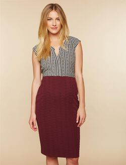 Under Belly Diamond Jacquard Maternity Skirt, BURGUNDY