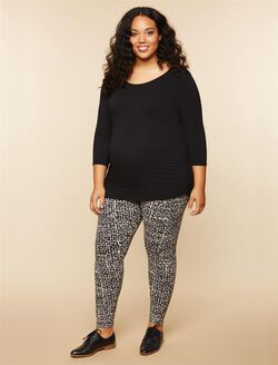 Plus Size Secret Fit Belly Maternity Leggings, BLACK/WHITE GEO