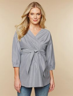 Faux Wrap Maternity Top, Grey White Stripe