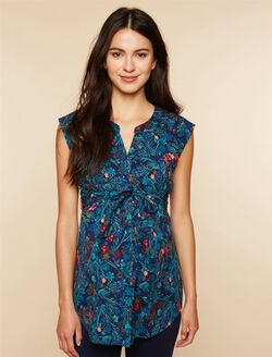Cap Sleeve Tie Detail Maternity Tunic, Navy Floral