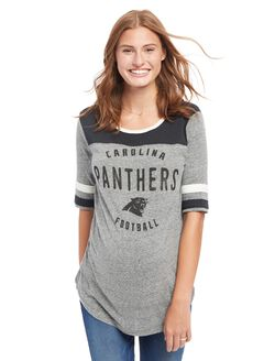 Carolina Panthers NFL Elbow Sleeve Maternity Graphic Tee, Panthers Blue