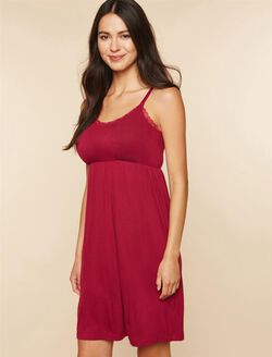 Lace Trim Nursing Nightgown, Beet Red