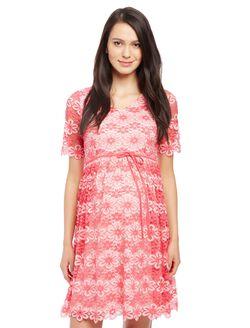 Lace Back Cutout Maternity Dress, Pink