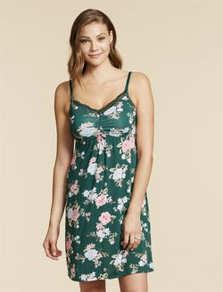 Jessica Simpson Lace Trim Maternity Nightgown, Pacific Floral