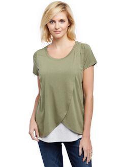 Short Sleeve Tulip Layered Nursing T-shirt- Solid, Lichen Green