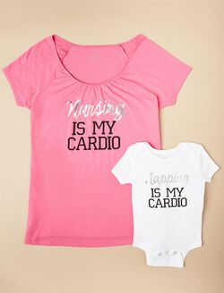 Napping Is My Cardio Nursing Tee & Baby Bodysuit, Pink