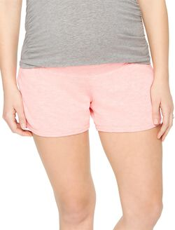 Under Belly French Terry Maternity Shorts, Shell Pink
