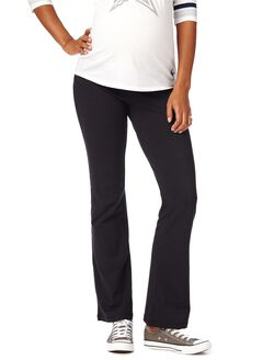 Petite Fold Over Belly Boot Cut Maternity Active Pants, Black