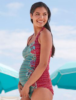 Floral Geo Print Maternity Tankini Swimsuit, Peacock/Floral