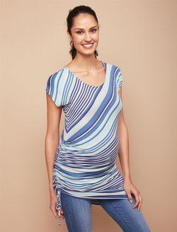 Jessica Simpson Side Tie Maternity Top- Blue Stripe, Blue Stripe