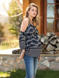 Pleated Maternity Top, Navy Floral
