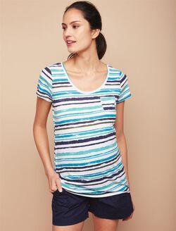 Pocket Tee Maternity T Shirt, Blue/Turq Stripe