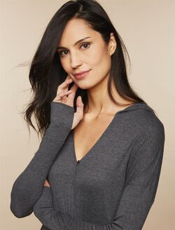 Hooded Nursing Wrap Top, Grey
