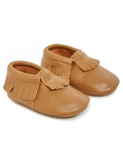 Itzy Ritzy Leather Baby Moccasins, Toasted Almond