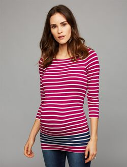 Contrast Stripe Maternity Top, Fuschia/White/Navy Stripe