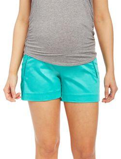 Secret Fit Belly Sateen Maternity Shorts, Atlantis Green