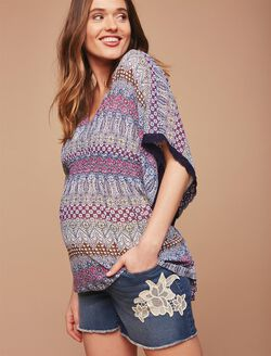Secret Fit Belly Crochet Detail Maternity Shorts, Dark Wash