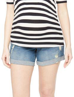 Indigo Blue Secret Fit Belly Destructed Roll Hem Maternity Shorts, Medium Wash
