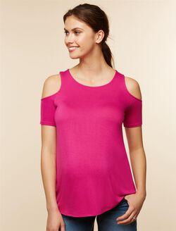 Cold Shoulder Maternity Shirt, Pink