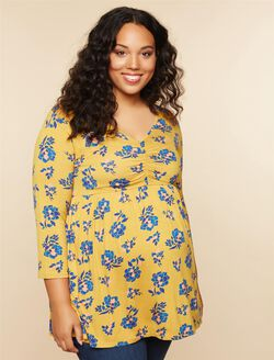 Plus Size Ruched Neckline Babydoll Maternity Top, YELLOW FLORAL
