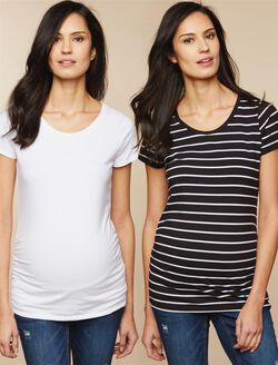 Bumpstart Maternity T Shirt, Stripe/White
