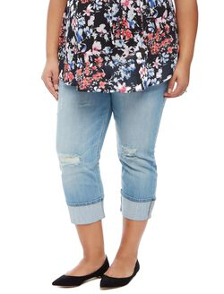 Plus Size Secret Fit Belly Highline Cuffed Maternity Crop Jeans, Light Wash