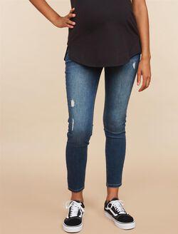Side Panel Skinny Leg Maternity Jeans, Medium Wash