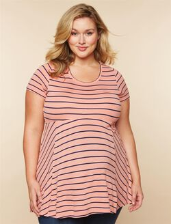 Plus Size Peplum Maternity Top, Coral/Navy Stripe