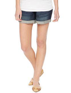 Indigo Blue Secret Fit Belly 5 Pocket Maternity Shorts, Dark Wash